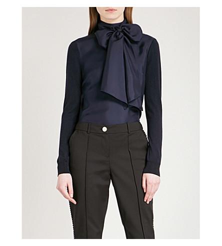 TED BAKER Bow-neck silk-blend jumper (Navy