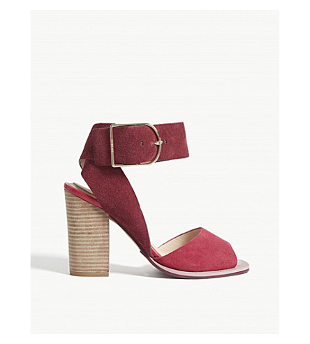 TED BAKER Thaise suede and leather sandals (Dark+red