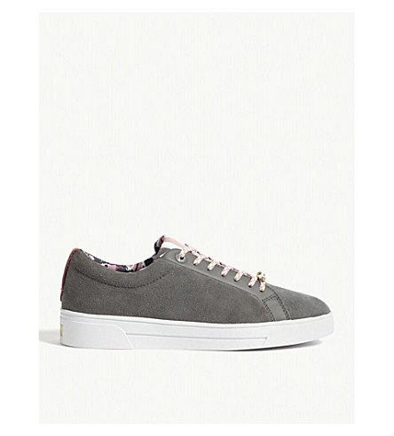 TED BAKER Ailiz suede tennis trainers (Charcoal