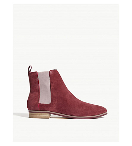 TED BAKER Wynni suede Chelsea boots (Dark+red