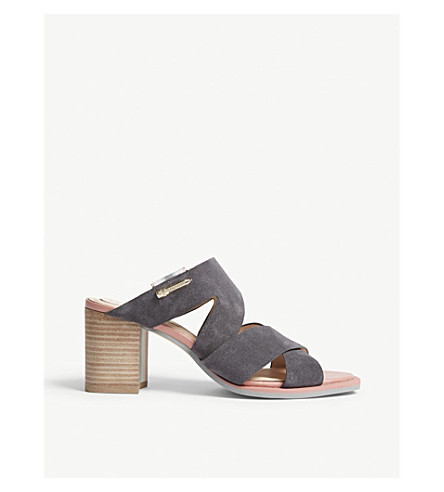 TED BAKER Airica suede heeled mules (Charcoal