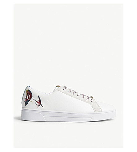 TED BAKER Neiliya embellished leather trainers (White