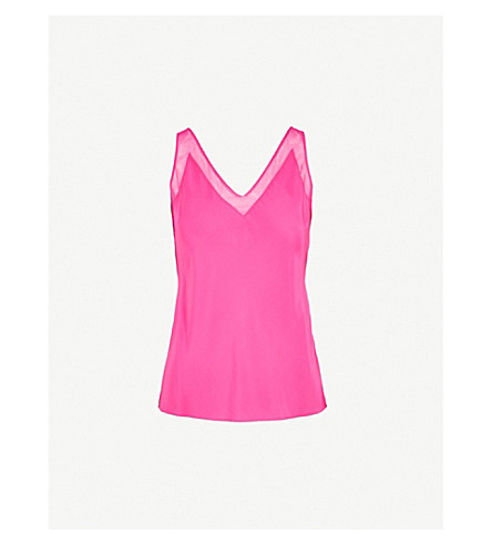 TED BAKER Mesh-trim silk top (Bright+pink