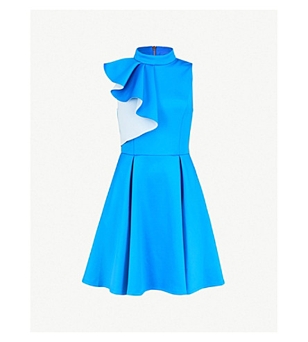 TED BAKER Ruffled skater dress (Bright+blue