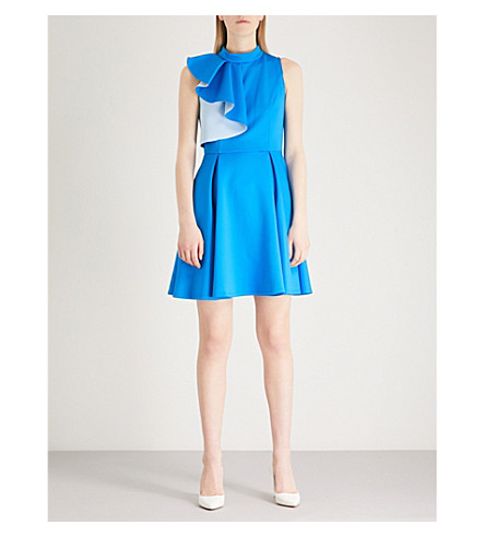 TED BAKER Ruffled skater dress (Bright+blue