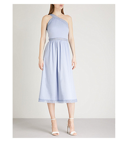 TED BAKER One-shouldered cotton midi dress (Blue