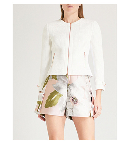 TED BAKER Enatoi bow-detail bouclé jacket (White