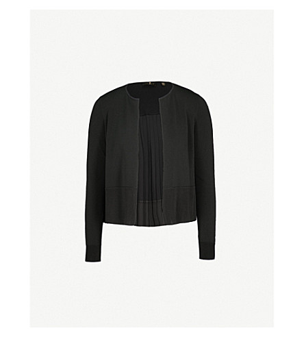 TED BAKER Pleated knitted cardigan (Black