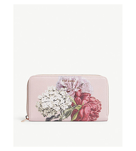 TED BAKER Palace Gardens print leather matinee purse (Dusky+pink