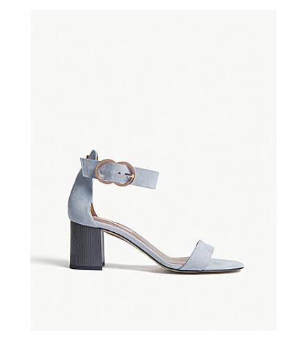 TED BAKER Qarvas block heel suede sandals (Pale+blue