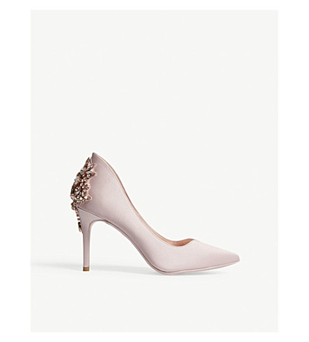 TED BAKER Finoula embellished-back satin courts (Light+pink