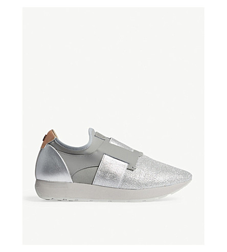 TED BAKER Harqcen leather and mesh trainers (Silver