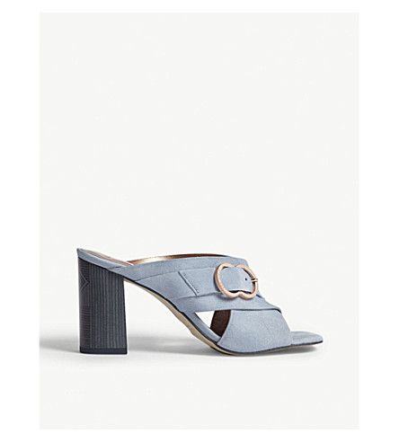 TED BAKER Malada suede block heel mules (Pale+blue