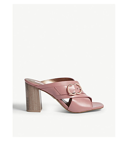 TED BAKER Malada leather block heel mules (Pink