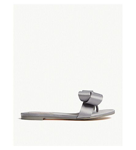 TED BAKER Beauita satin bow sliders (Grey