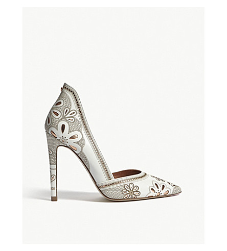 TED BAKER Amahri laser-cut floral leather courts (Ivory