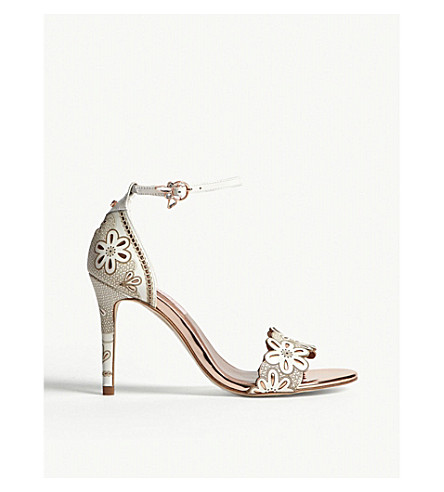 TED BAKER Cimaa floral laser-cut leather heeled sandals (Ivory