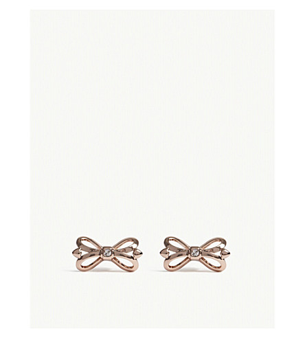 TED BAKER Harmone ornate bow stud earrings (Clear