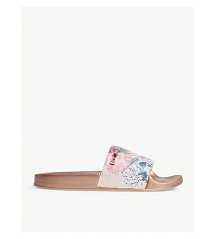 TED BAKER Avelins floral-print sliders (Rose+gold
