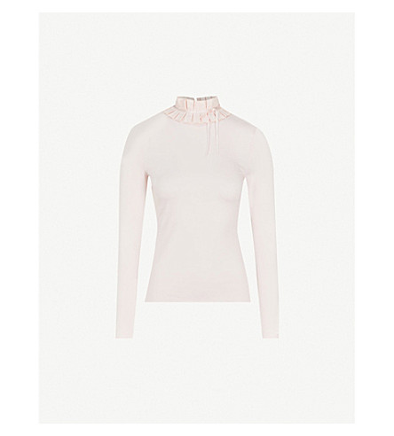 TED BAKER Accordian-pleated jersey top (Nude+pink