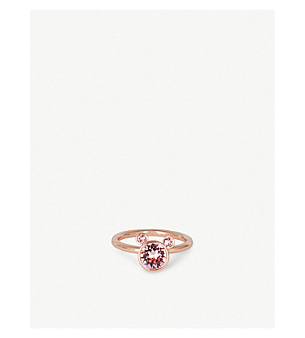 TED BAKER Adanno rose gold-plated Swarovski crystal bear ring (Pale+pink