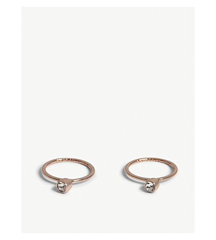 TED BAKER Celesta crystal stacking rings (Clear