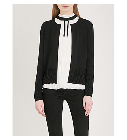 TED BAKER Ottoman-detail woven cardigan (Black