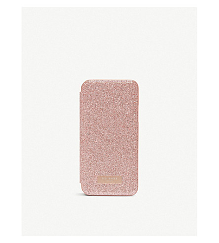 TED BAKER Glitter mirror iPhone X case (Baby+pink