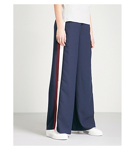 TED BAKER Ted Says Relax Yuli grosgrain wide-leg cotton trousers (Navy