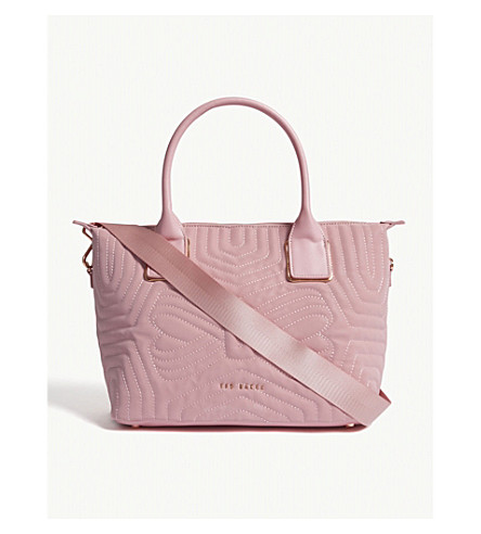 TED BAKER Reflective quilted tote bag (Dusky+pink