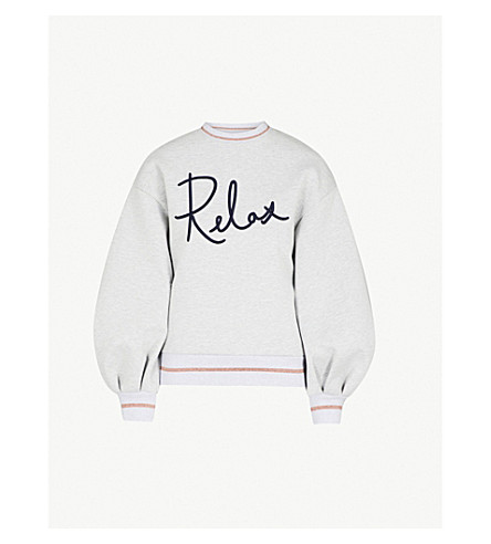 TED BAKER Ted Says Relax embroidered cotton-jersey sweatshirt (Light+grey