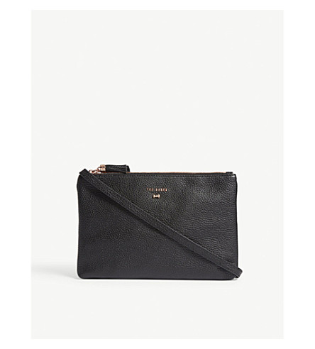 TED BAKER Grained leather cross-body bag (Black