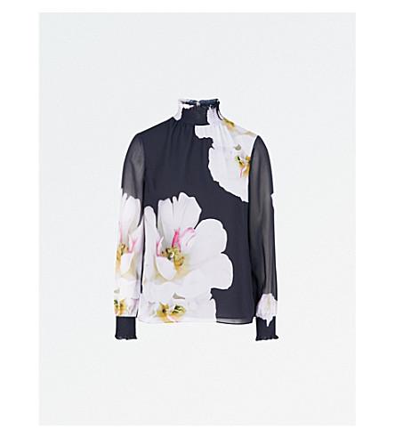 TED BAKER Graycie floral-print chiffon blouse (Dark+blue