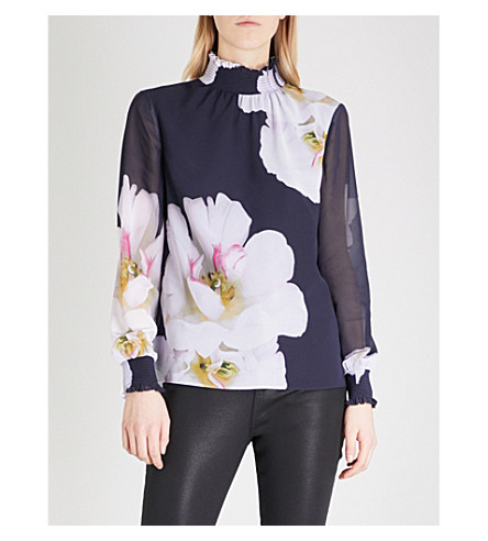 TED BAKER Graycie floral-print chiffon blouse (Dark+blue