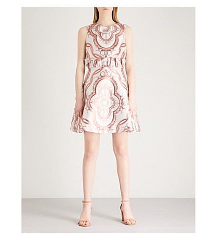 TED BAKER Versailles jacquard dress (Dusky+pink