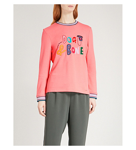 TED BAKER Dog and bone cotton-blend sweatshirt (Coral