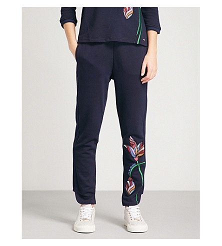 TED BAKER Eleani relaxed-fit cotton-blend jogging bottoms (Navy