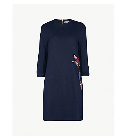 TED BAKER Holie cotton-blend dress (Navy