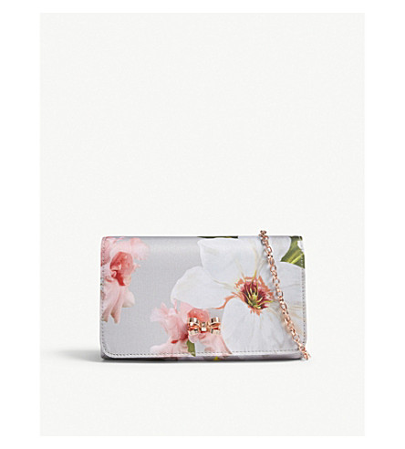 TED BAKER Melodie floral print cross-body bag (Mid+grey