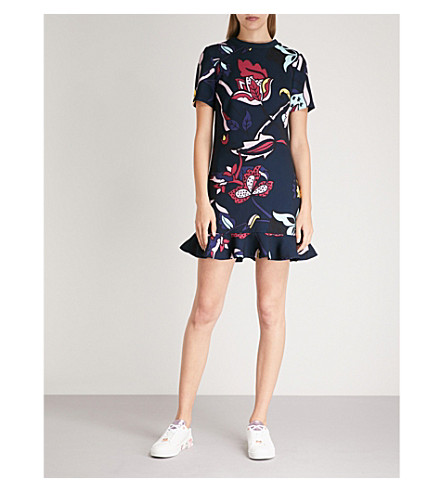 COLOUR BY NUMBERS CARLEEA PRINTED FRILL-HEM DRESS