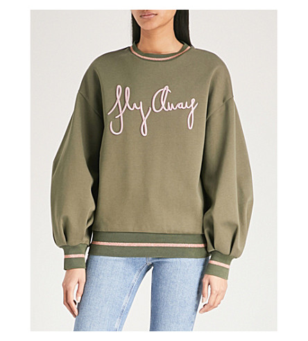 TED BAKER Ted Says Relax Fly Away cotton-blend jumper (Khaki