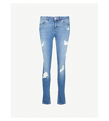 TED BAKER Ripped slim-fit mid-rise jeans (Mid+blue