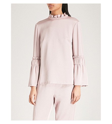 TED BAKER Ted Says Relax frilled-sleeve high-neck satin top (Dusky+pink