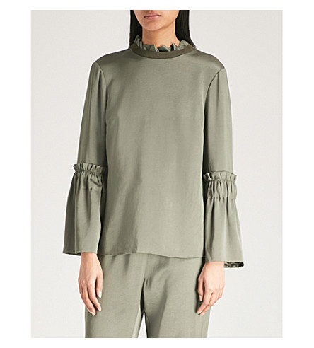Relax Ted top TED BAKER Says high neck sleeve Khaki satin frilled T1HpnHqxS