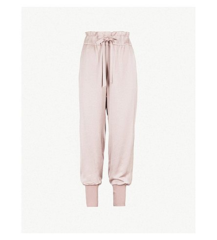 TED BAKER Ted Says Relax paper bag-waist satin jogging bottoms (Dusky+pink