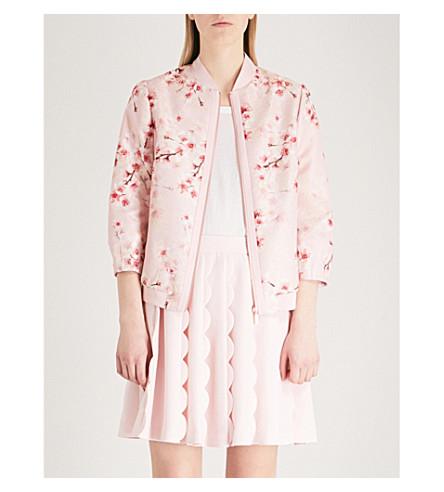 TED BAKER Blossom crepe jacquard bomber jacket (Light+pink