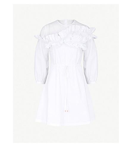 TED BAKER 不对称皱板棉府绸连衣裙 (白色