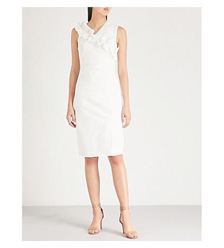 TED BAKER Princia frilled-trim stretch-cotton dress (White