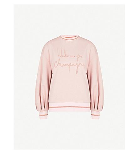 TED BAKER Tinslie logo-print cotton-jersey sweatshirt (Dusky+pink