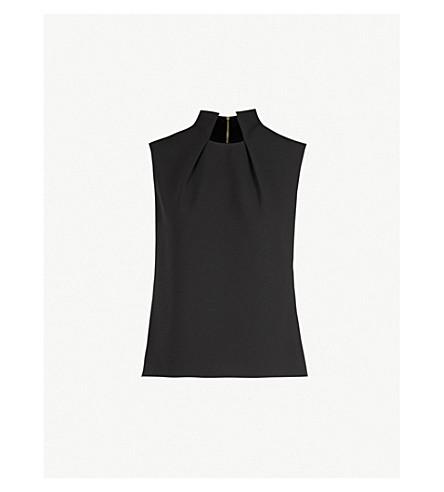 TED BAKER Folded neck crepe top (Black